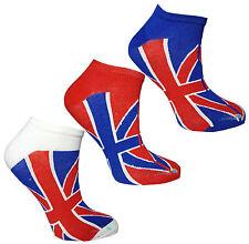 Kids Trainer Socks Union Jack Design Boys Girls Funky Summer Liners (3 pack)