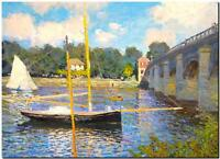 CLAUDE MONET ~ The Bridge at Argenteuil *FRAMED* CANVAS PRINT - 24x16""