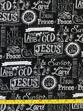 Christian Religious Fabric Cotton Black 18