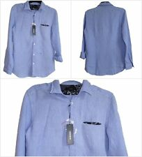 """BNWT DIESEL BLUE CASUAL SHIRT BLOUSE LOOSE TOP  LARGE L BUST 40""""  LINEN AUTH"""
