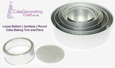 "Round Cake Baking Tins | Loose Base - 4"" Deep - 3 Tier ( 6 8 10 12 14 "")"