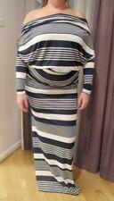 WOMEN'S KAREN J DESIGN BLUE WHITE STRIPE OPEN BACK LONG MAXI DRESS SIZE L