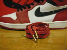 """New Premium Red FLAT WAX SHOE LACES 54"""" Gold METAL TIP Royal 1 Asics Nike Ronnie"""
