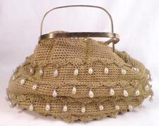 Vintage Ladies Purse Gold Metallic Crochet Imitation Pearl Drops To Restore