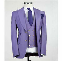 Light Purple Men Suits Peak Lapel Blazer Wedding Tuxedos 3 Pcs Prom Party Jacket