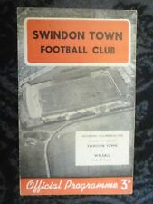 1958  League Programme SWINDON TOWN v WALSALL - 22nd March