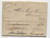 1837 Meriden NH 6 attached rate handstamp on turned stampless Groton MA [4605.3]
