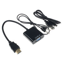 1080P HDMI to VGA With Audio Converter Adapter USB Power Video Cable Black M5V9