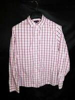 Lands End 16 Pink Plaid Shirt No Iron Supima Cotton Long Sleeve Button Lg Blouse