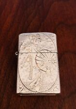- JAPANESE STERLING SILVER CIGARETTE LIGHTER: ENGRAVED DESIGN OF GEISHA