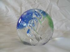 Beautiful Art Deco Art Glass Paperweight with Blue and Green Swirls