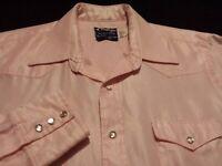 Wrangler Mens Large Long Sleeve Pearl Snap Solid Pink Western Shirt