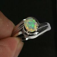 0.30 Carat Natural Play-of-Color Crystal Opal Ring in 925 Sterling Silver