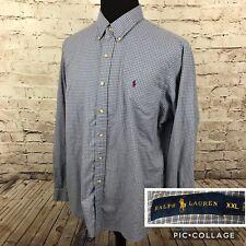 Ralph Lauren Mens XXL Blue Check Button Down Dress Shirt Maroon Pony C57