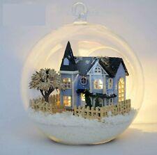 DIY Glass Ball Wood Model Kits LED Dollhouse Snow Fairy Tale Town Gift Handcraft