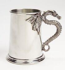 Aat10 - Silver Dragon Gothic Tankard/Mug/Stein - Fine English Pewter - One Pint