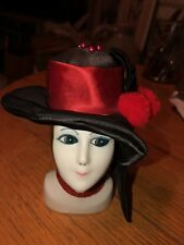 RED HAT LADY PINCUSHION ART DECO PORCELAIN HEAD BOUDOIR DOLL FACE PIN CUSHION 5""