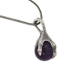 """Yigal Avinoam 925 Sterling Silver Claw Amethyst Pendant Chain Necklace 16"""""""