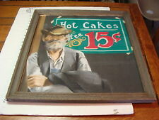 VINTAGE ART---pastel man and hot cakes 15 cents Framed