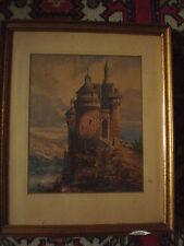 Aquarelle XIX° , Chateau sur un Promontoire