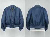Mens Vintage Alpha Industries Flying Bomber MA-1 Jacket Blue Nylon Size Large