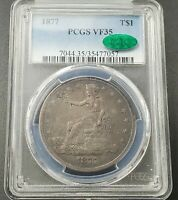 1877 P $1 US Trade Seated Liberty Dollar Coin PCGS VF35 CAC CH VF Certified