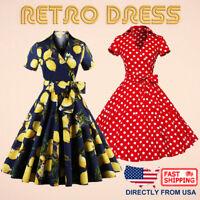 Women's Retro Dress V Neck Short Sleeve Large Swing 1950s Vintage Midi Dress
