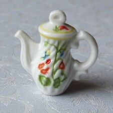 Dolls house miniatures: pretty French porcelain teapot with a floral design