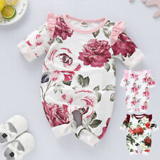Infant Baby Girl Long Sleeve Ruffles Floral Print Romper Jumpsuit Clothes Outfit