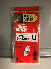 3 Royal Dirt Devil Type U Vac Bags New in Package