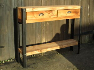 Bespoke H100 x W90 x D30cm rustic industrial steel console table drawers Shelf