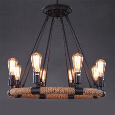 Hemp Rope Style Pendant Lamp Retro Industrial Chandelier Ceiling 8 Light Fixture