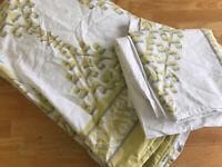 West Elm King Duvet Cover Set w 2 King Shams Organic Cotton Ikat White Yellow