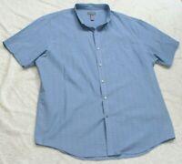 XXL Short Sleeve Van Heusen Mans Pocket Dress Shirt Button Up Blue Top 2XL 18.5