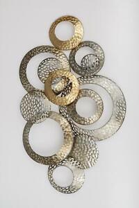 Wanddeko, Wanddeko CIRCLES KREISE 74x46cm champagner gold Metall Formano