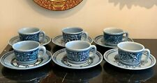 Felix Tissot Taxco Hand Painted Pottery Cups and Saucers Set of 6