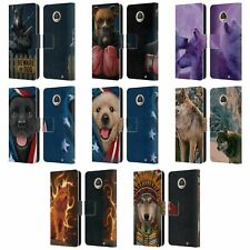 OFFICIAL VINCENT HIE CANIDAE LEATHER BOOK WALLET CASE COVER FOR MOTOROLA PHONES
