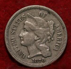 1870 Philadelphia Mint Nickel Three Cent Coin