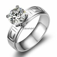 Women's Stainless Steel Delicate Carved Solitaire Wedding Band Engagement Ring