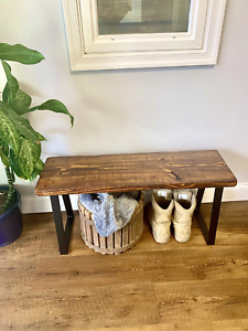 ThorWoods Handmade Rustic Distressed Real Wood Entryway Bench w/ Trapezoid Legs