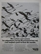 11/1973 PUB UTA AIRLINE DC-10 AIRLINER OISEAU MIGRATEUR FLAMAND ROSE FRENCH AD