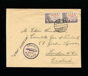 Zeppelin Sieger 89B 1930 Baltic Sea Flight Finland Post VERYFINE COVER to London