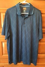 Greg Norman Men's Play Dry Short Sleeve Blue Polo Golf Shirt Size XL Shark B244