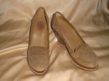 Michael Kors Ligh Brown Suede Leather Wedge Heels Shoes Penny Loafers Size 9 M