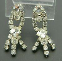 Clear Rhinestone Silver Tone Art Deco Style Dangle Screw Back Earrings Vintage C