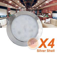4X12V Silver Shell LED Dome Light Camper/Motorhome/Caravan/Truck Roof Down Lamp