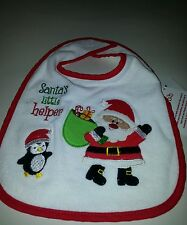 Unisex Baby's Essentials White Red Trim Bib Santas Helper Embroidery Detail