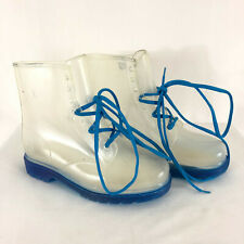 Chase & Chloe Womens Boots Clear Lace Up See Through Blue Size 8.5