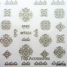 3D SILVER Mandalas Shaped  Design Nail Art Decals Stickers #07MT24 Free P&P