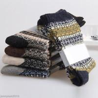 Vintage Men Faux Rabbit Wool Lining Knit Thermal Fuzzy Slipper Xmas Floor Socks